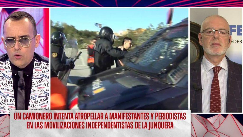 """Julio Villaescusa, Presidente de la Federación Nacional de Transportistas, sobre las movilizaciones de la Junquera: """"Estamos muy enfadados"""""""