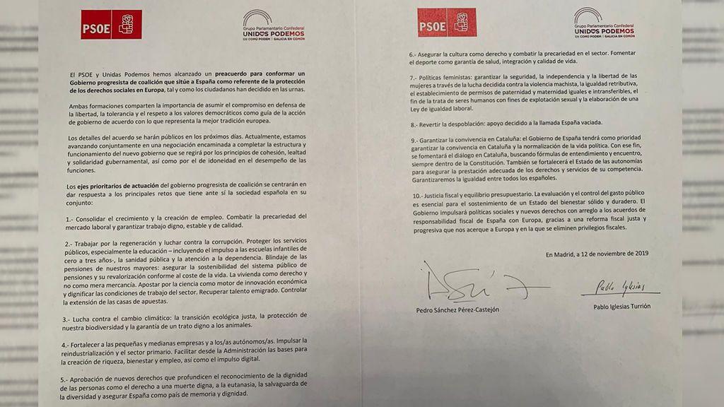"""Texto del preacuerdo alcanzado entre Sánchez e Iglesias para un """"Gobierno progresista"""""""