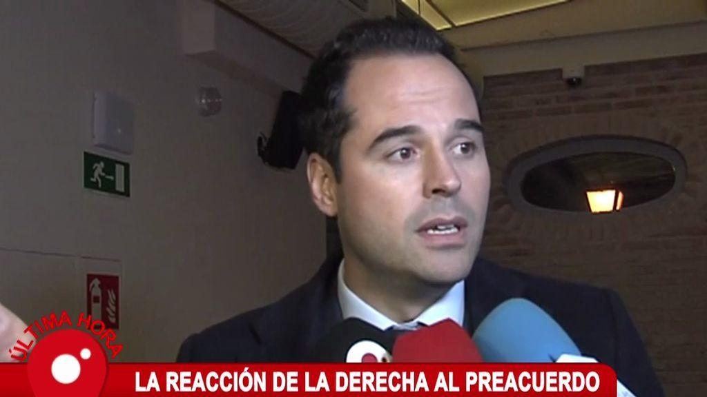 """Ignacio Aguado e Inés Arrimadas: """"Pedro Sánchez se ha equivocado, todavía estamos a tiempo de hacer un acuerdo moderado"""""""