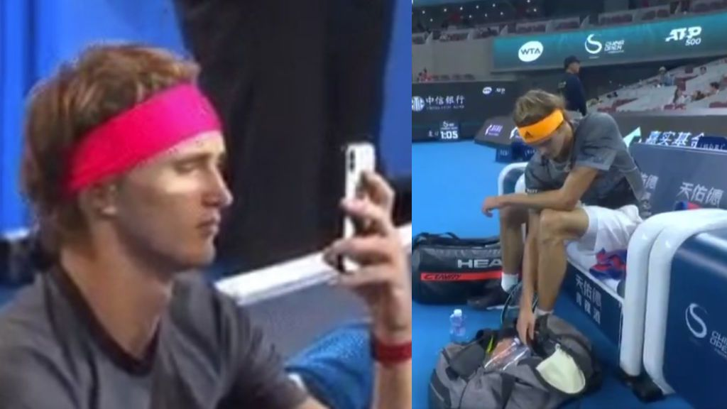 """Culpan a Zverev de hacer trampas al mirar el móvil pero él lo niega: """"Estaba colocando la botella de agua"""""""