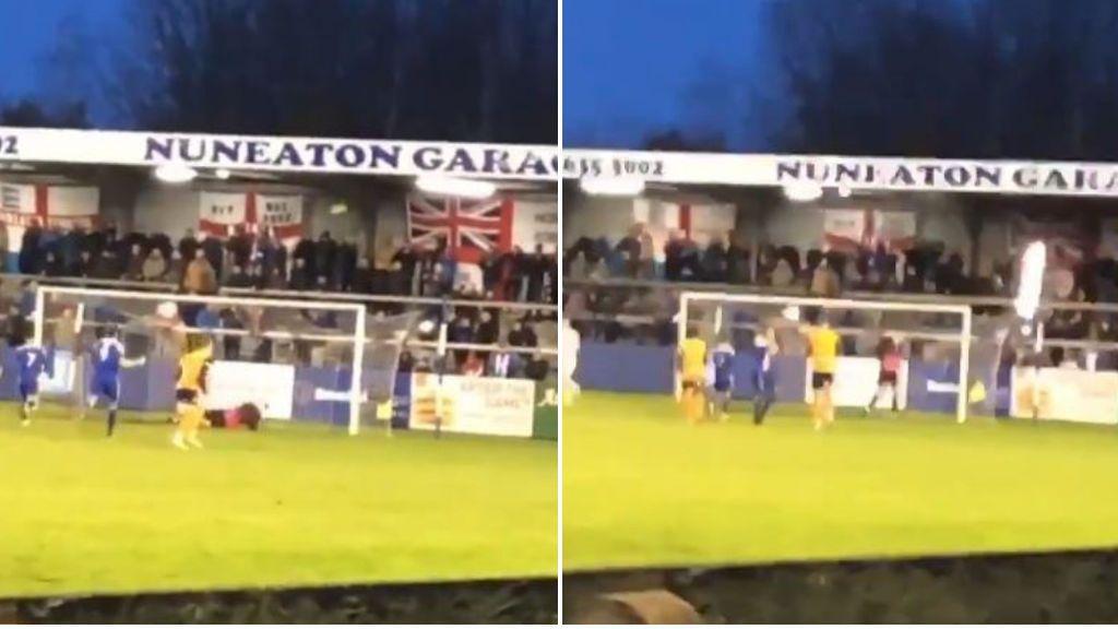 Un portero inglés tira un penalti, lo falla, rompe un foco y casi golpea a los aficionados