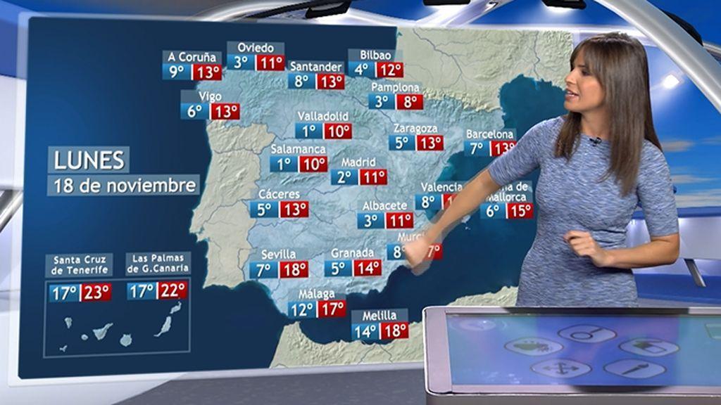 Temperaturas frescas e inestabilidad con forma de lluvia: el tiempo de cara a la próxima semana