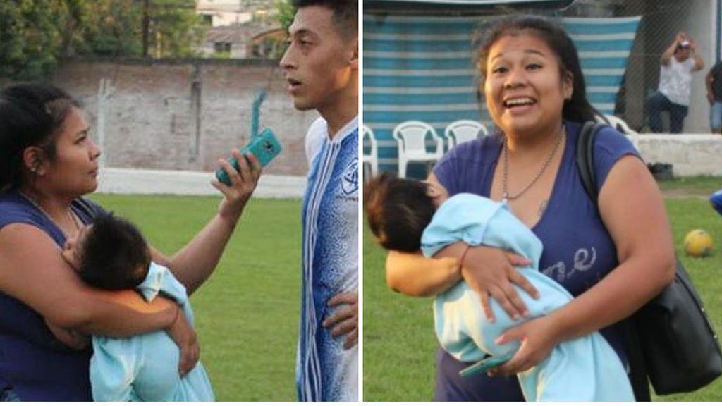 Una periodista argentina realiza las entrevistas a los jugadores con su hijo en brazos al no poderlo dejar con nadie