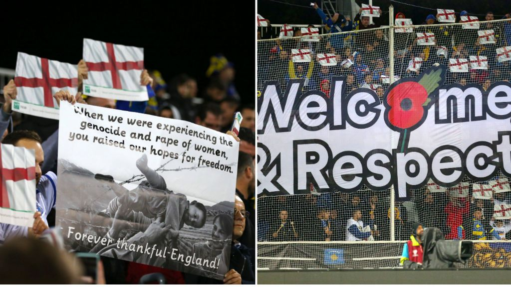 """Los aficionados de Kosovo dan las gracias a Inglaterra con un tifo: """"Nos llevasteis hasta la libertad en una época de genocidio"""""""