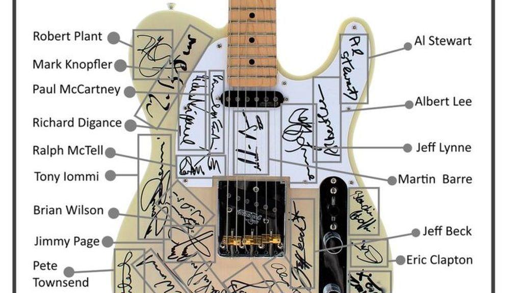 Guitarra firmada por la realeza del rock