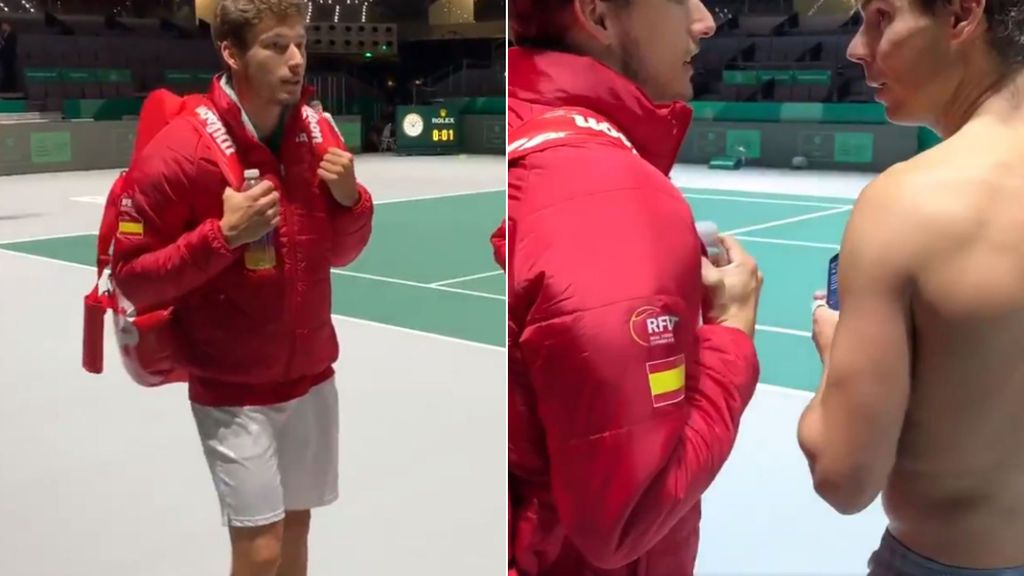 """El vacile de Carreño a Nadal tras el entrenamiento de la Copa Davis: """"Será que tú haces muchas bolas de break"""""""