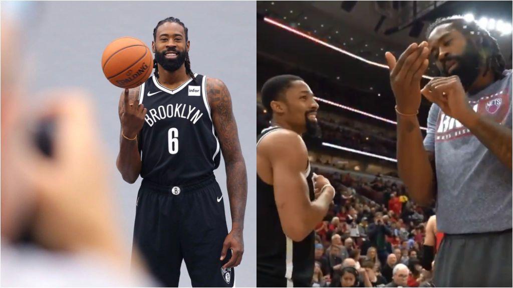DeAndre Jordan saluda a todos sus compañeros de los Nets con un saludo diferente