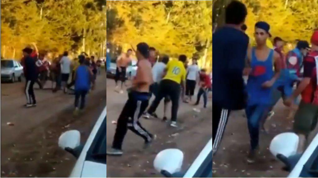 Batalla salvaje con palos y piedras en un partido de fútbol regional en Baradero