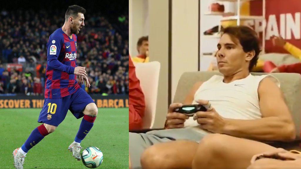 """El madridista Rafa Nadal se vuelve loco con Messi en la Play: """"Estoy con Lionel, estoy con Lionel"""""""