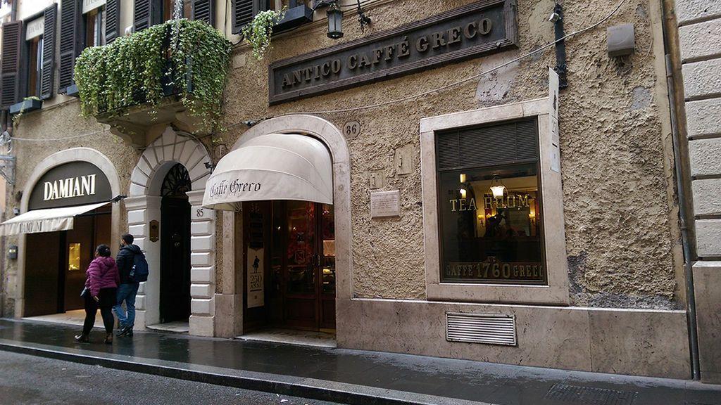 Fachada del Caffe Grecco en Roma