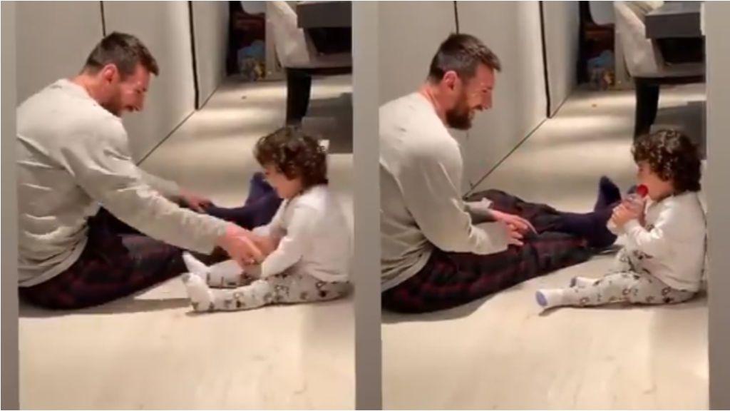 Leo Messi saca su lado más tierno mientras juega con su hijo pequeño Ciro