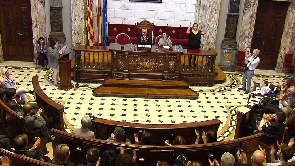 Lectura durante un acto en el Ayuntamiento del nombre de las 52 mujeres asesinadas