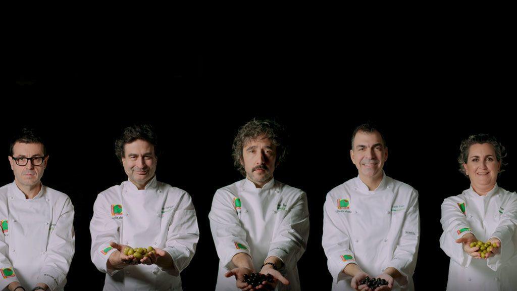 El reto de la aceituna: Ricard Camarena, Pepe Rodríguez,  Diego Guerrero, Ramón Freixa y Pepa Muñoz