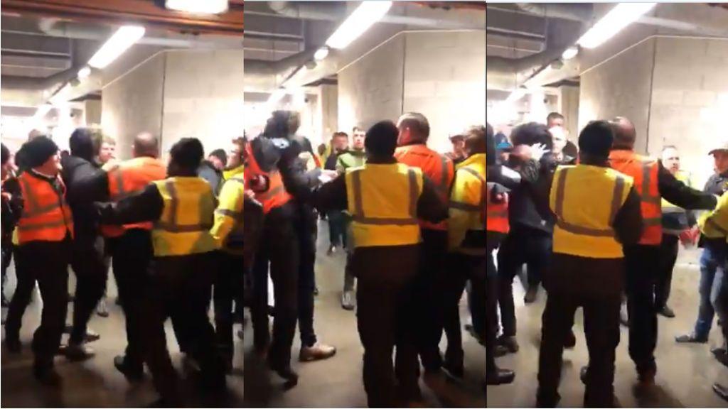 Agresión en el fútbol: un vigilante de seguridad pierde los nervios y le pega un puñetazo en la cara a un aficionado