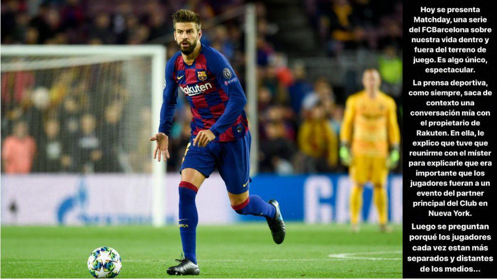 """El ataque de Piqué a la prensa deportiva: """"Luego se preguntan porqué los jugadores cada vez están más separados y distantes de los medios"""""""