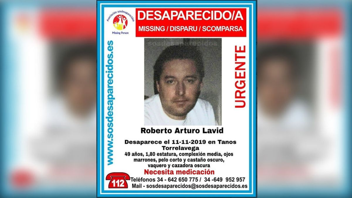Buscan en Santander a Roberto Artura Lavid, desaparecido el 11 de noviembre