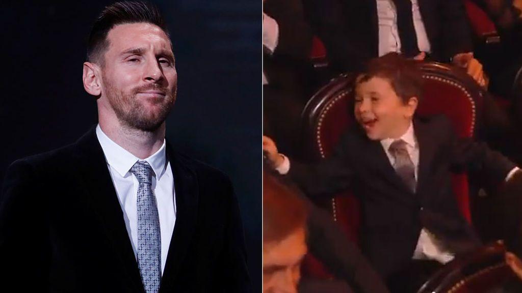 La alegría de Mateo al ver a su padre Leo Messi ganar su sexto Balón de Oro