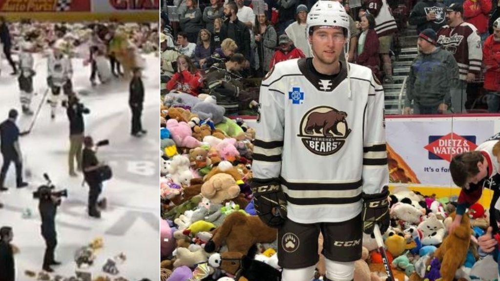 Más de 45.000 ositos de peluche inundan la pista de hockey sobre hielo en un partido para fines benéficos