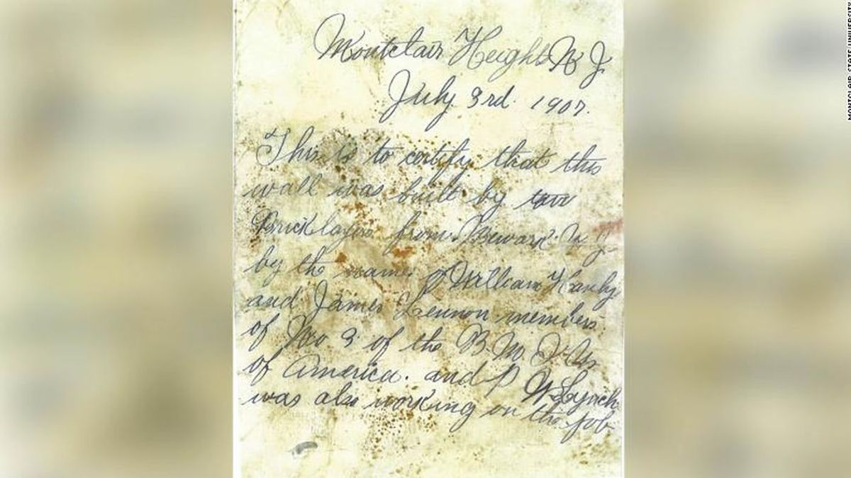 El mensaje de dos albañiles que ha permanecido guardado en secreto durante 112 años