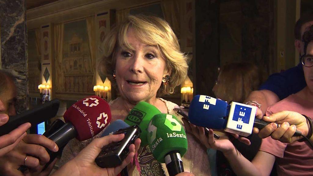 """Esperanza Aguirre : """"Creo que Pedro Sánchez gobernando en solitario sería mejor"""""""
