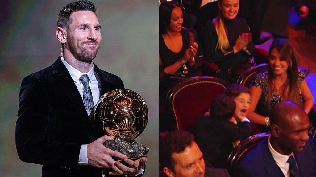 El abrazo de Thiago y Mateo Messi en el momento en el que su padre recibe su sexto Balón de Oro