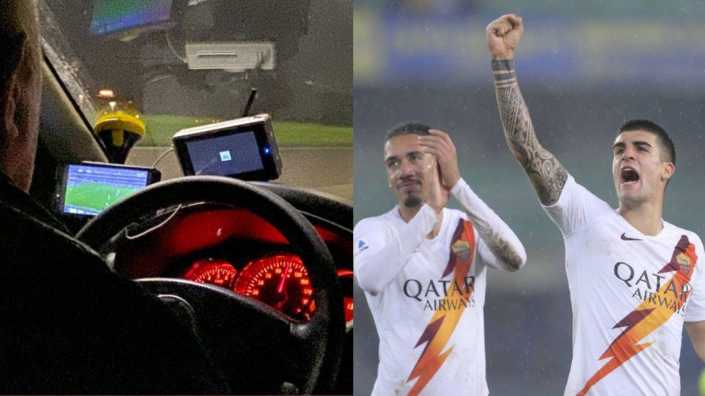 El taxista que apoya a la Roma a 110 km por hora: con los ojos o tan al volante