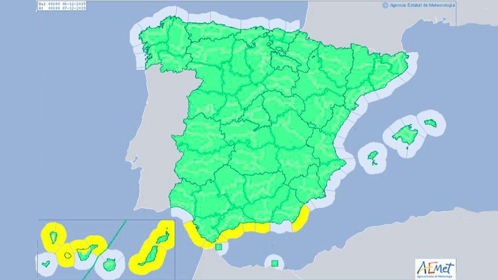 Un mapa de España casi sin alertas para el puente de la Constitución