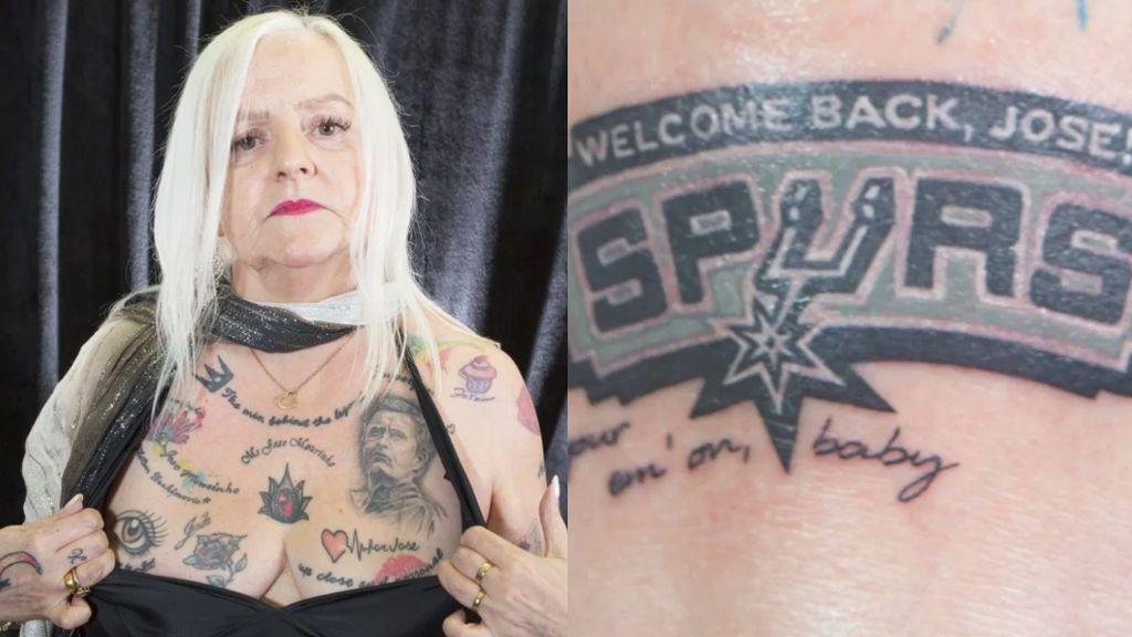 """La fanática de José Mourinho de 62 años que tiene 38 tatuajes suyos ya tiene el de los Spurs: """"Bienvenido de nuevo"""""""