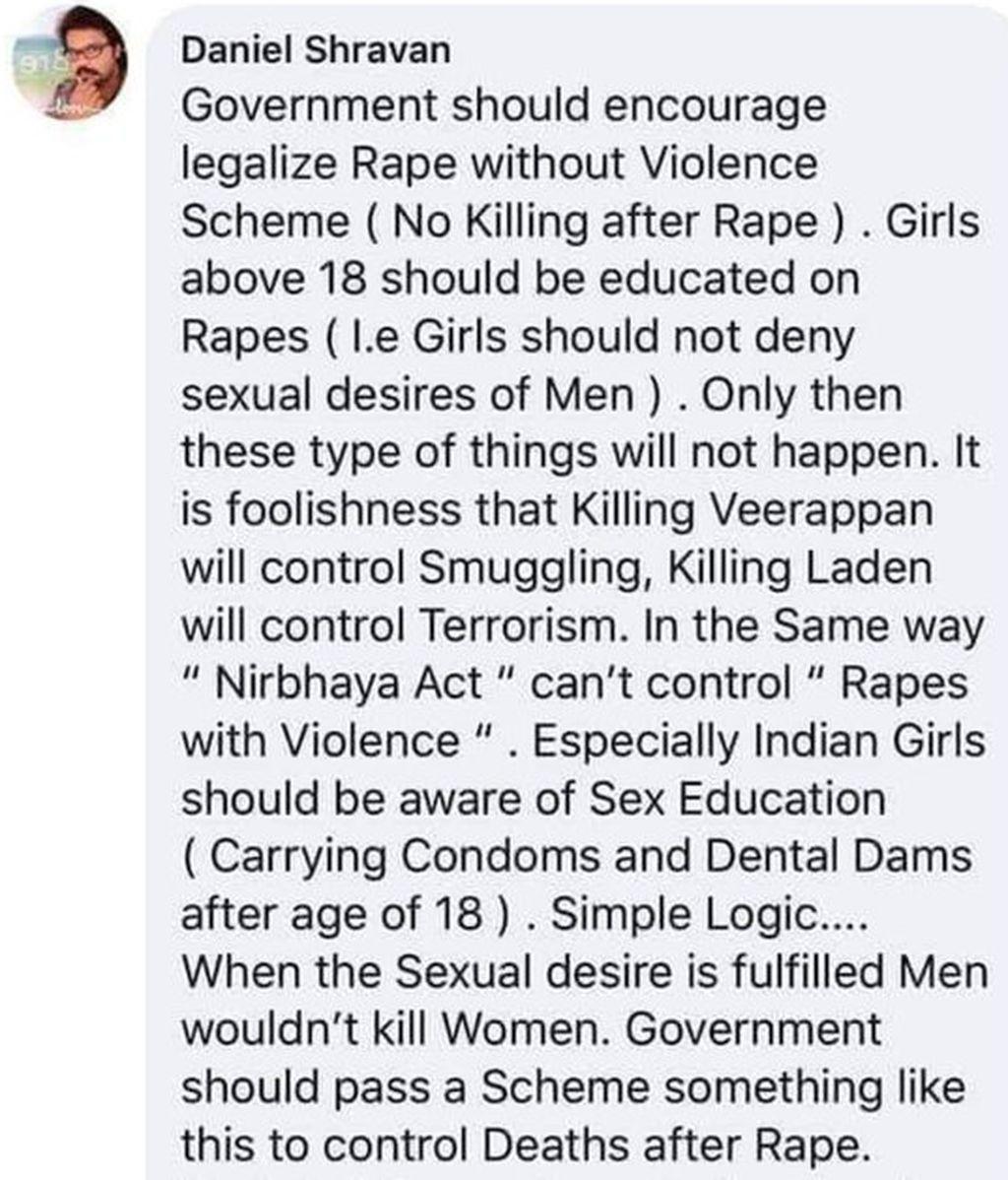 Publicación de Daniel Shravan en Instagram sobre la violación