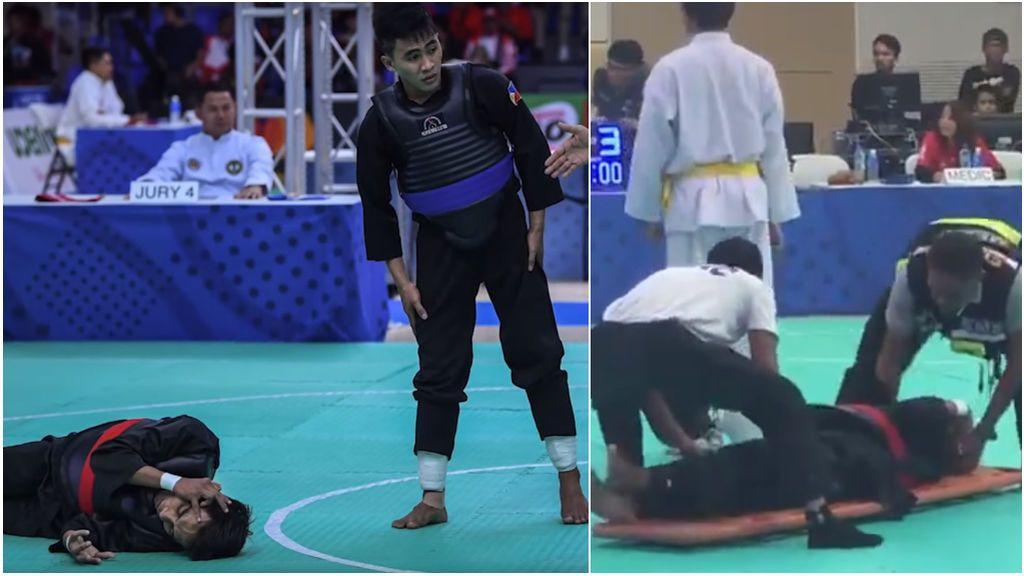 Una patada ilegal en la cabeza deja a un luchador de Pencak Silat inconsciente y debe ser trasladado al hospital en las eliminiatorias de los Juegos del Sudeste Asiático