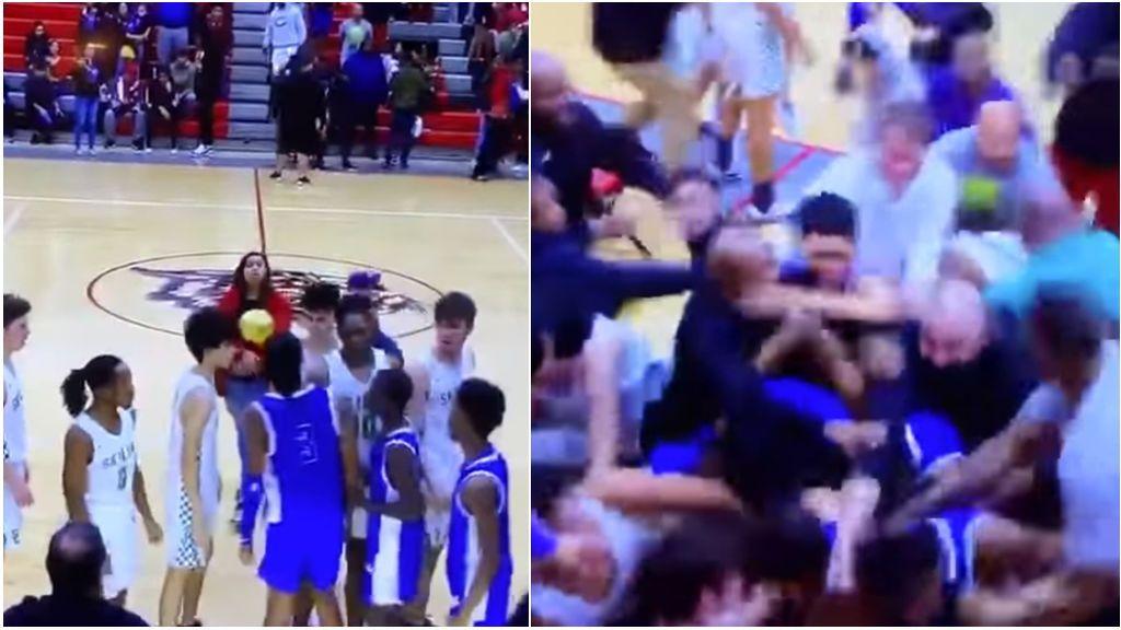 Se estaban saludando y todo el pabellón acabó peleándose: la batalla campal en un partido de baloncesto escolar