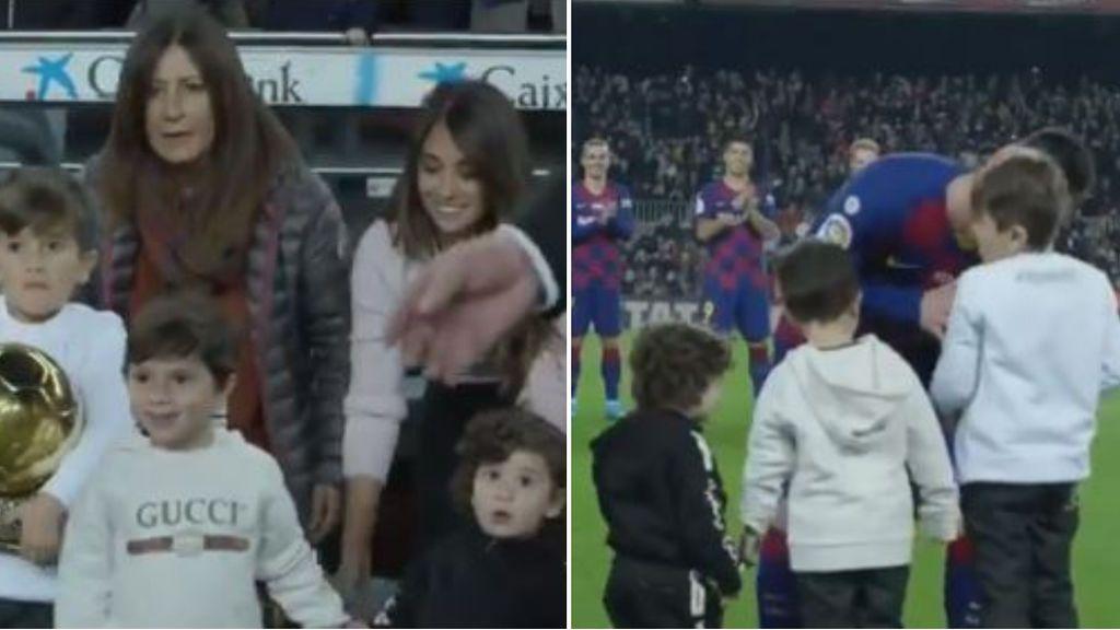 Desde dentro, la emoción de los hijos de Messi al entregarle el Balón de Oro a su padre
