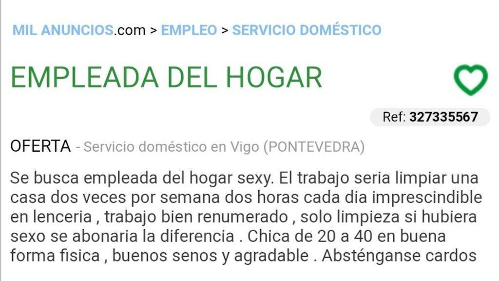 """Denigrante oferta de empleo en Vigo: """"Buenos senos y agradable. Absténganse cardos"""""""
