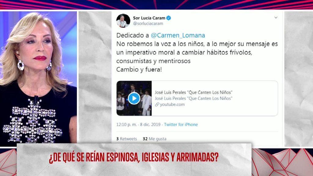 """El rifirrafe de Carmen Lomana con Sor Lucía por Greta Thunberg: """"Le dije que rezara por ella porque es una niña explotada"""""""