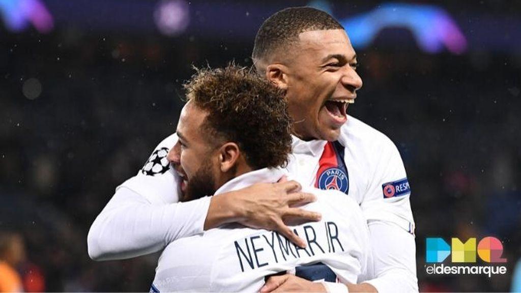 Neymar y Mbappé celebran un gol del PSG al Galatasaray