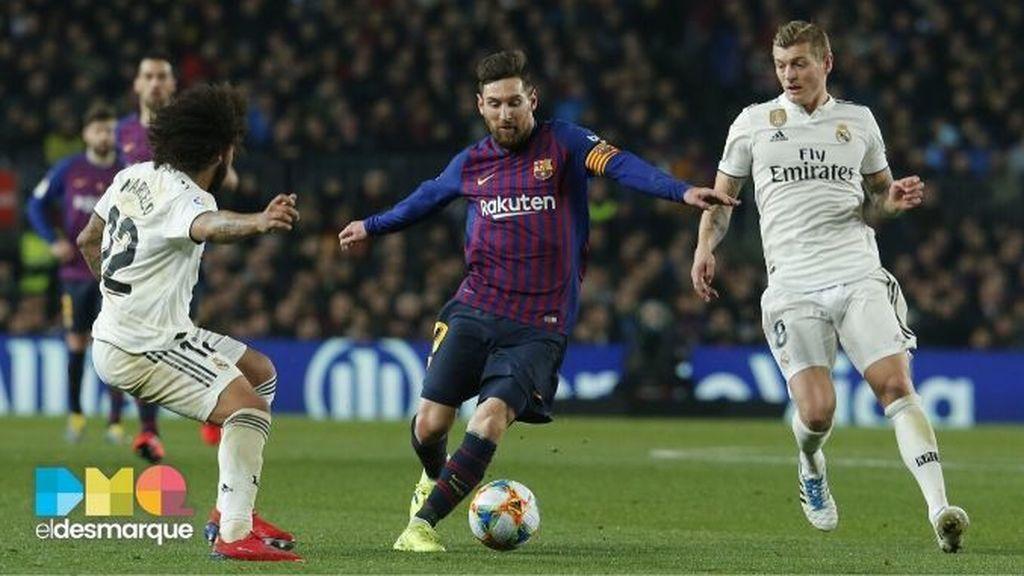 Marcelo, Messi y Kroos en el Clásico de la 18/19