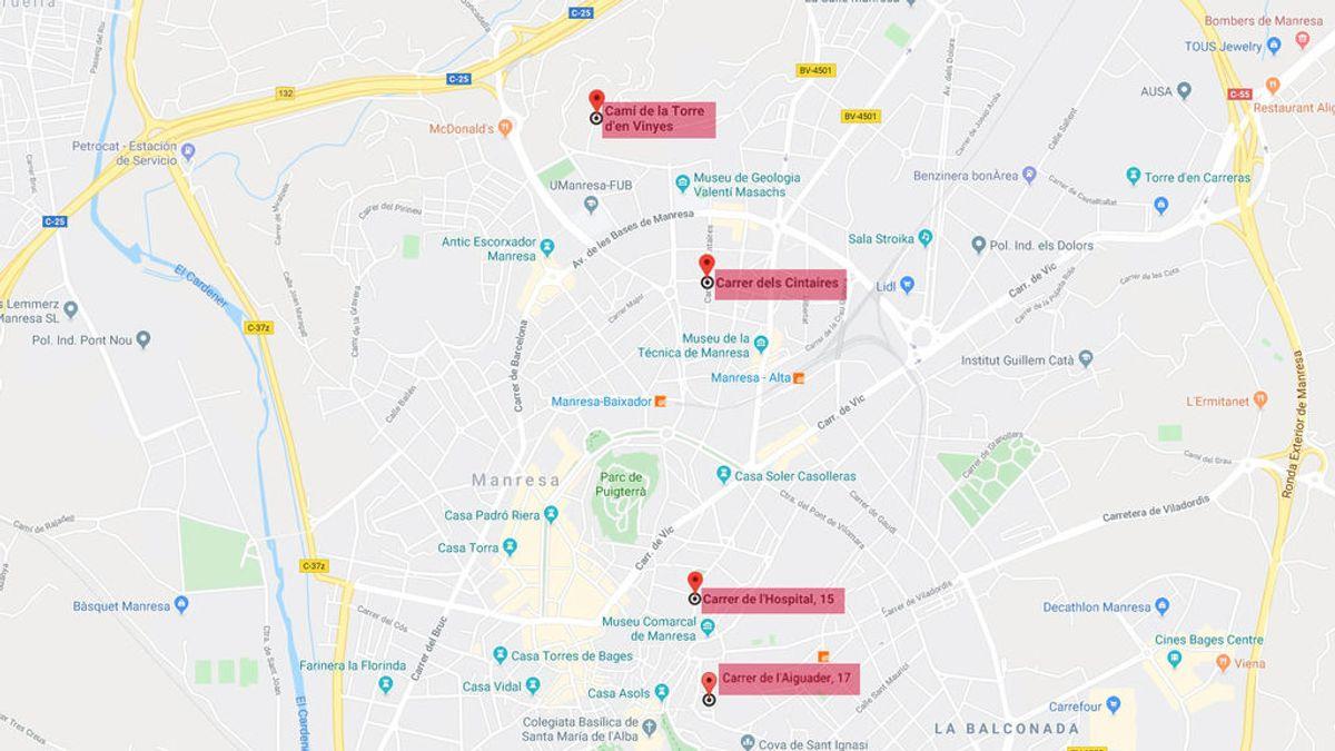 El triángulo de las violaciones en Manresa: cuatro agresiones sexuales en dos kilómetros