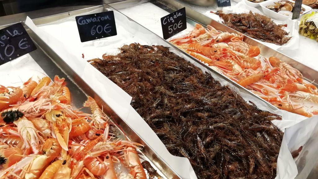 Crustáceos a la venta en la Plaza de Lugo