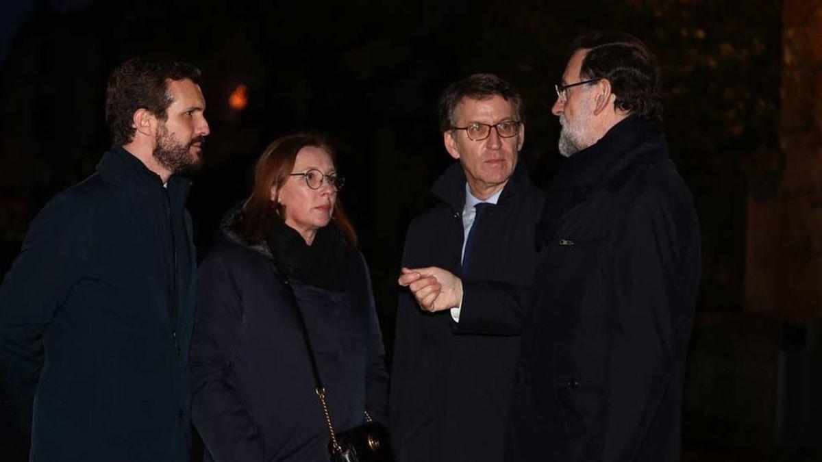 Casado y Feijóo arropan a Mariano Rajoy en el funeral de su hermana Mercedes