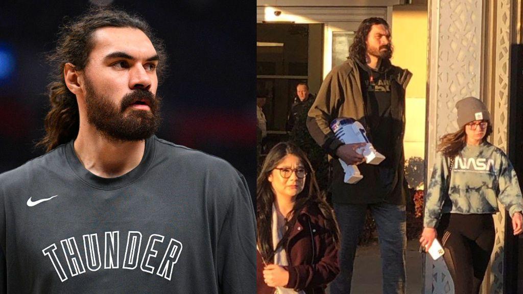 Los jugadores de los Thunders, evacuados por un tiroteo en Oklahoma mientras veían el pase de 'Star Wars': Steven Adams salió con R2D2 bajo el brazo
