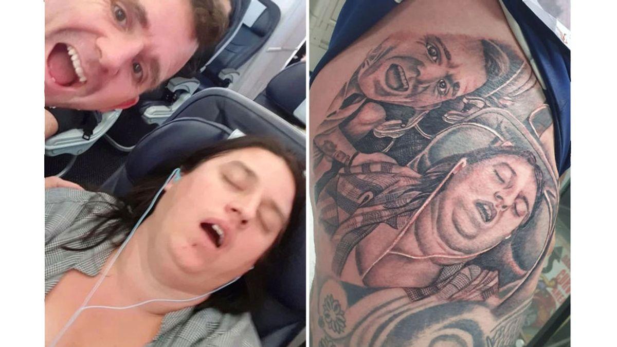 Inmortaliza en un gigantesco tatuaje la horrorosa imagen de su mujer roncando