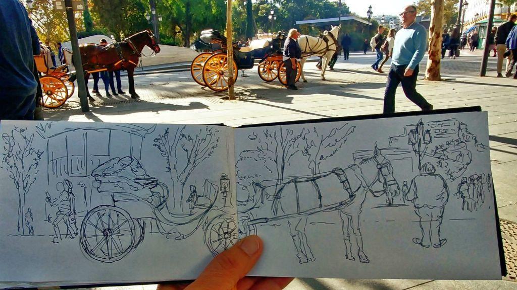Luis Casas, el 'sketcher' gaditano que viaja con cuaderno y rotuladores en la mochila