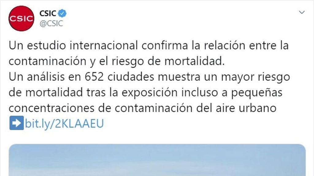 """El CSIC responde a la presidenta de Madrid tras afirmar que """"nadie muere por contaminación"""""""