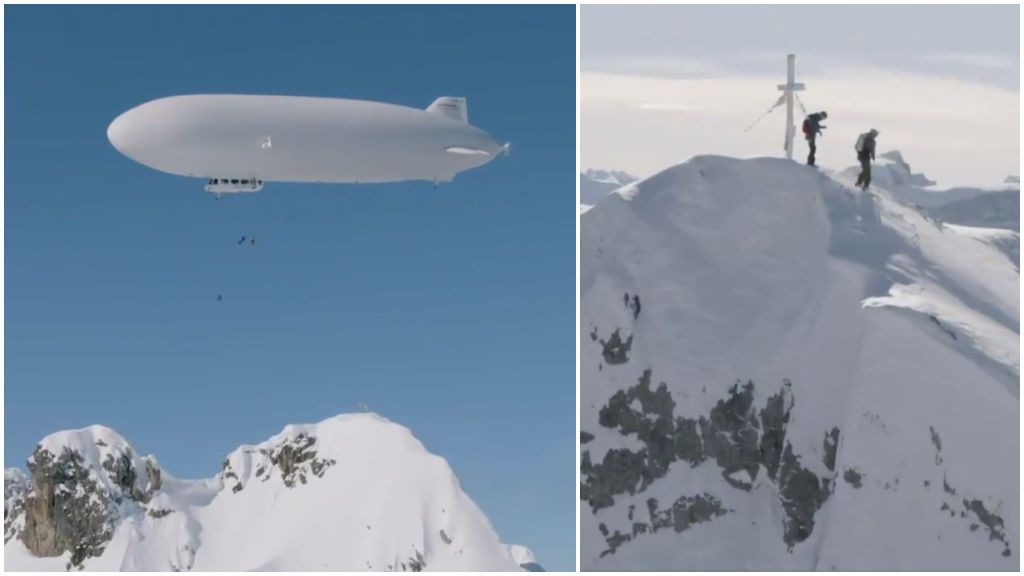 Un esquiador hace historia al convertirse en el primero en descender una montaña desde un zeppelin