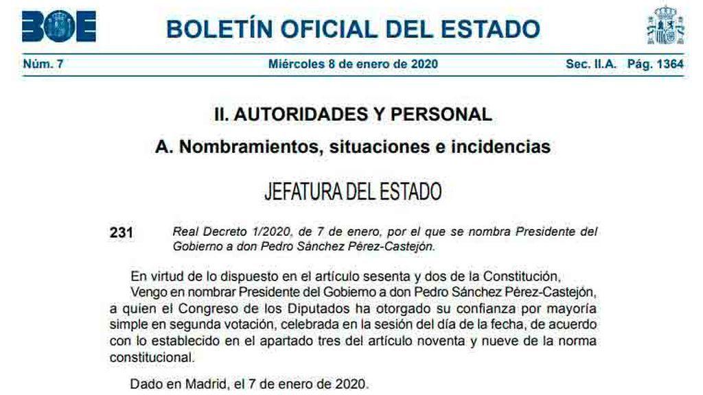 El BOE publica el nombramiento de Pedro Sánchez
