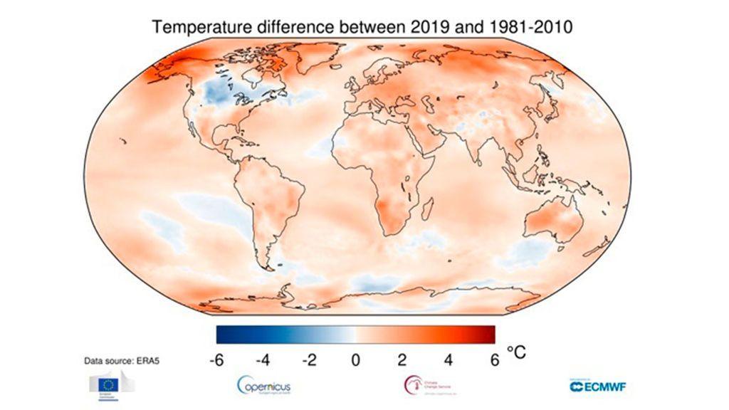 Temperatura del aire a una altura de dos metros para 2019, que se muestra en relación con su promedio de 1981-2010