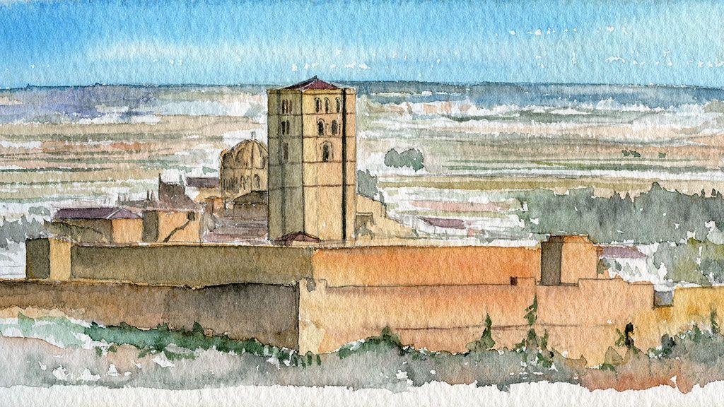 Acuarela catedral de Zamora