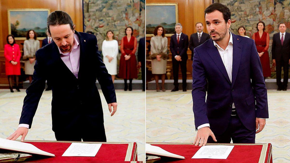 Qué significa el triángulo rojo invertido con el que han prometido su cargo Iglesias y Garzón
