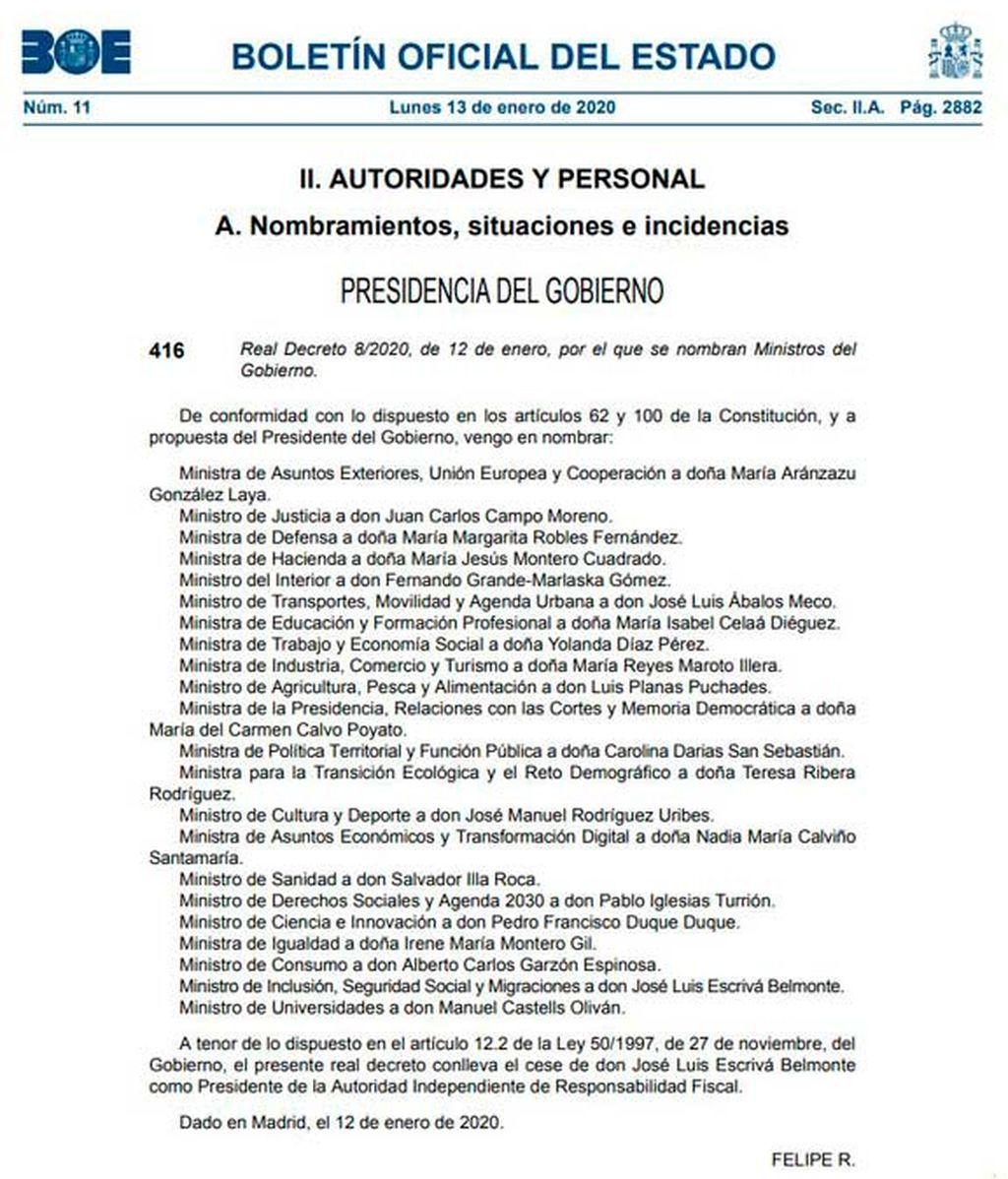 El BOE publica los nombramientos de los ministros del gobierno de coalición de Pedro Sánchez