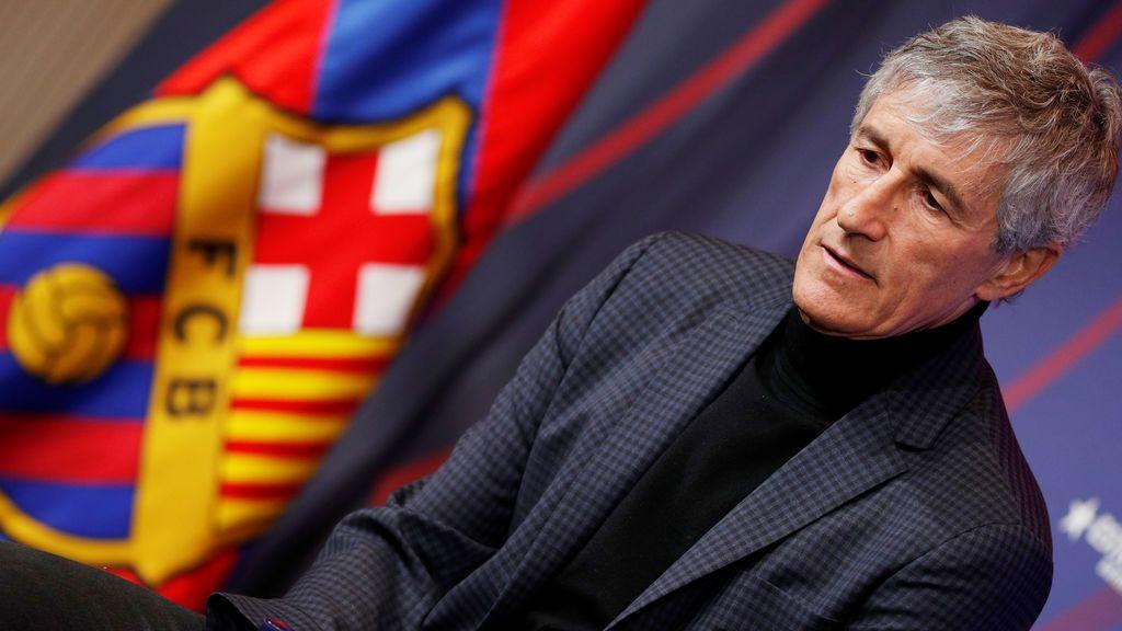 El primer día de Quique Setién como entrenador del Barça